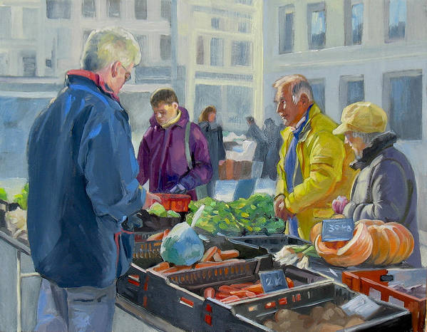 Dominique Amendola Print featuring the painting Selling Vegetables At The Market by Dominique Amendola