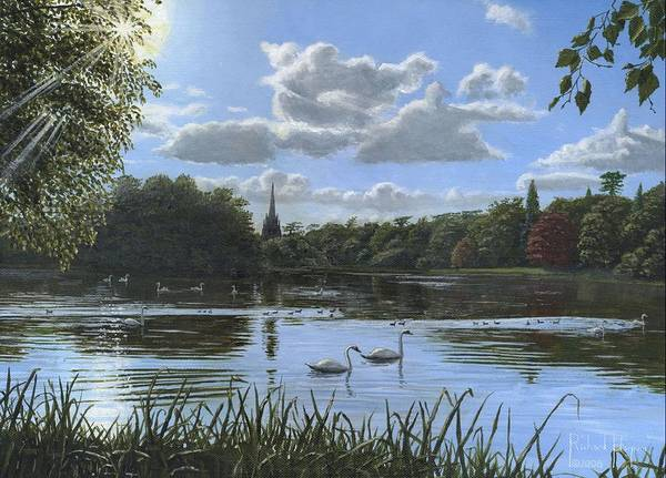 Landscape Print featuring the painting September Afternoon In Clumber Park by Richard Harpum