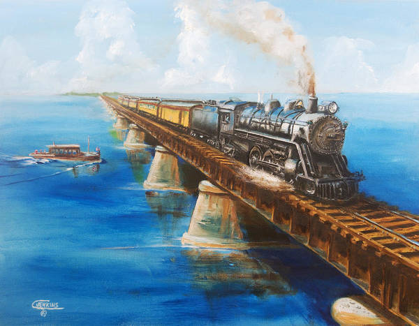 Florida Print featuring the painting Seven Mile Bridge by Christopher Jenkins