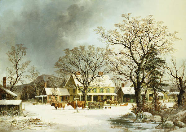 Winter Print featuring the painting Seven Miles To Salem by George Henry Durrie