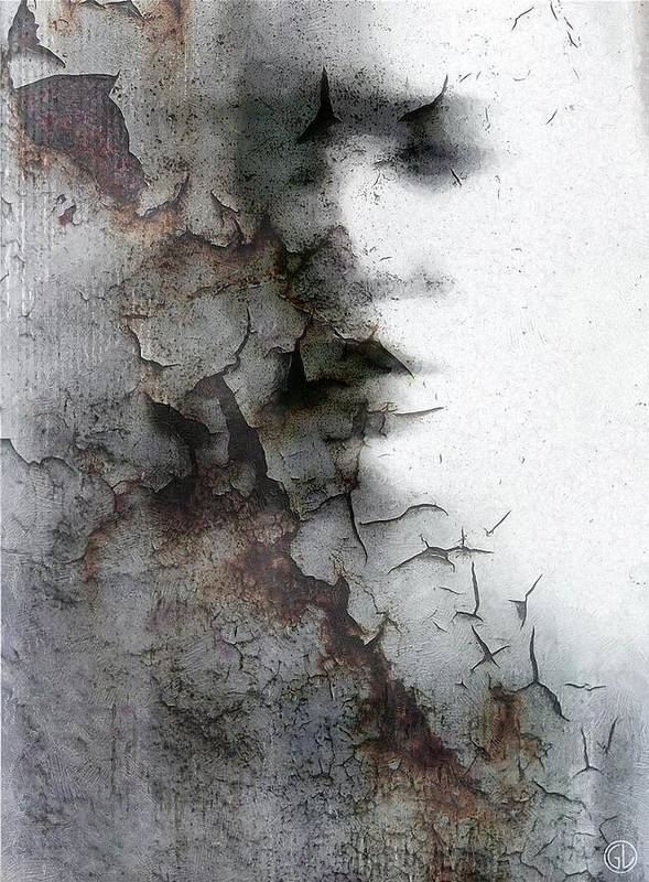Woman Print featuring the digital art Shadow On A Wall by Gun Legler
