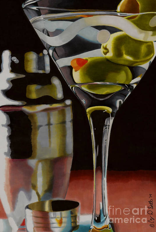 Martini Print featuring the drawing Shaken Not Stirred by Cory Still