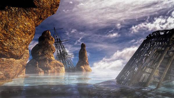 Orsillo Print featuring the digital art Shipwreck by Bob Orsillo