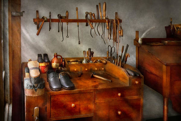 Self Print featuring the photograph Shoemaker - The Cobblers Shop by Mike Savad
