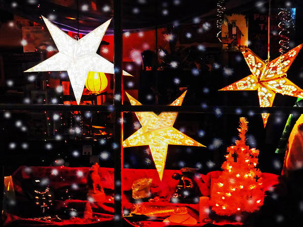 Christmas Print featuring the photograph Shop Window On Christmas Eve by Terril Heilman