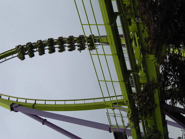 Six Print featuring the photograph Six Flags Great Adventure - Medusa Roller Coaster - 12122 by DC Photographer