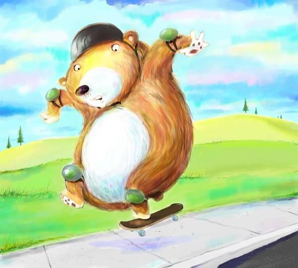 Skateboard Print featuring the digital art Skateboarding Bear by Scott Nelson