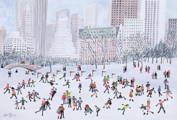 Naive; Townscape; Skyscraper; Bridge; Crowd; Ice; Patinage; Patiner; Patinoire Print featuring the painting Skating Rink Central Park New York by Judy Joel