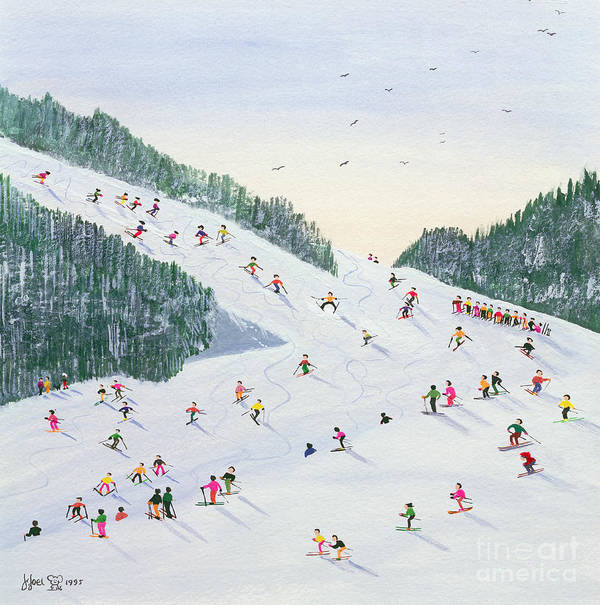 Landscape; Ski School; Naive; Evening; Snow Print featuring the painting Ski Vening by Judy Joel