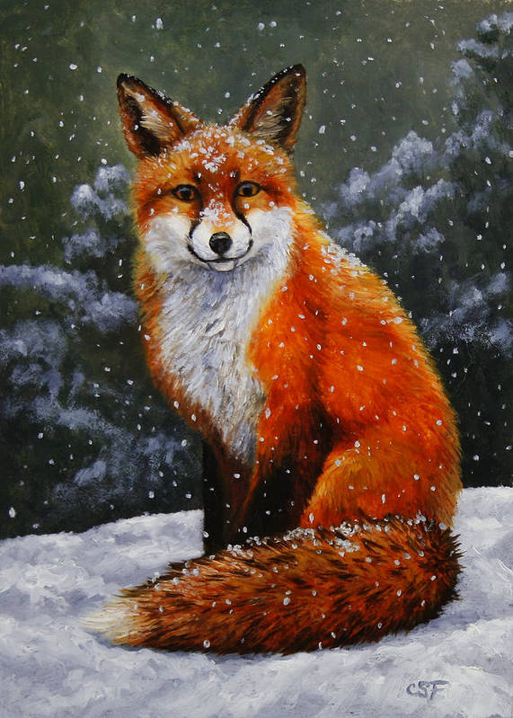 Dog Print featuring the painting Snow Fox by Crista Forest