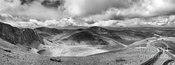 Beautiful Print featuring the photograph Snowdonia Panorama In Black And White by Jane Rix