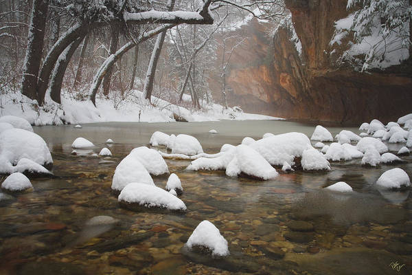 West Fork Oak Creek Canyon Print featuring the photograph Snowy West Fork by Peter Coskun