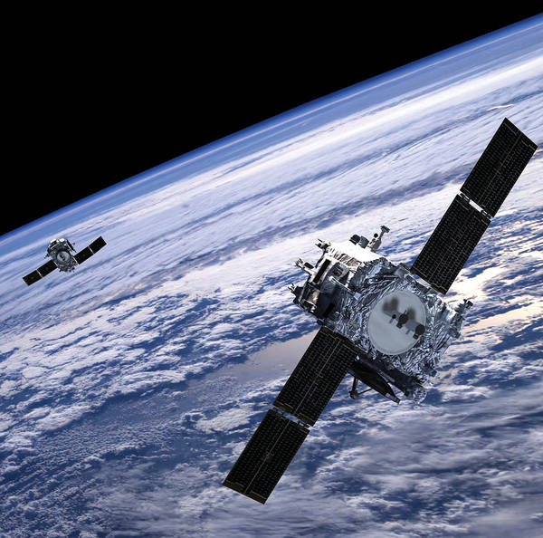 No People; Horizontal; Outdoors; Day; Elevated View; Mid-air; Flying; Two Objects; Technology; Satellite; Planet Earth; Astronomy; Space Exploration; Exploration; Space Print featuring the photograph Solar Terrestrial Relations Observatory Satellites by Anonymous