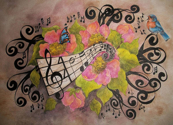 Music Print featuring the painting Song Of My Heart And Soul by Meldra Driscoll