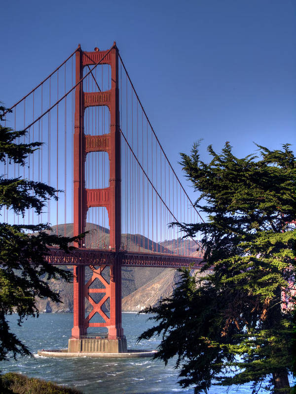 Golden Gate Bridge Print featuring the photograph South Tower by Bill Gallagher