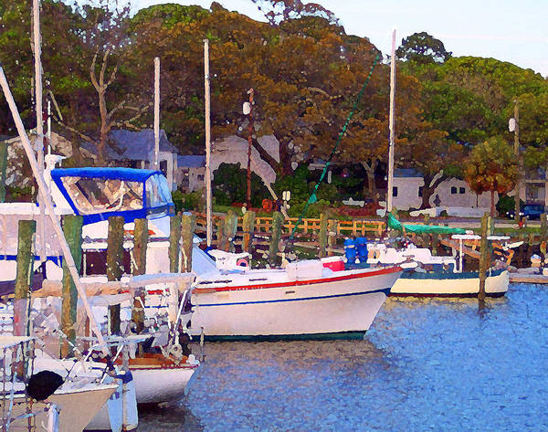 Boats Print featuring the digital art Southport Watercolor by Garland Johnson