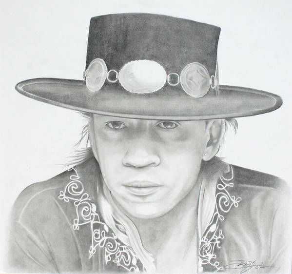 Srv Print featuring the drawing SRV by Don Medina