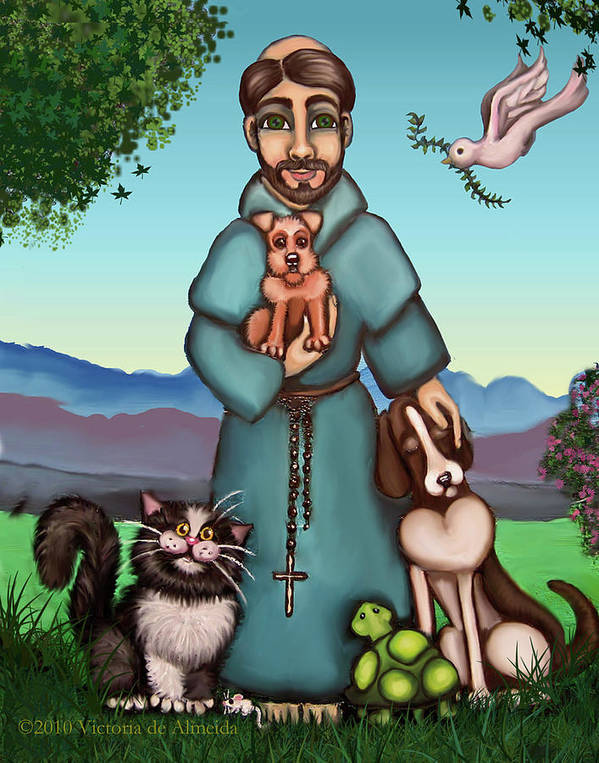 St. Francis Print featuring the painting St. Francis Libertys Blessing by Victoria De Almeida
