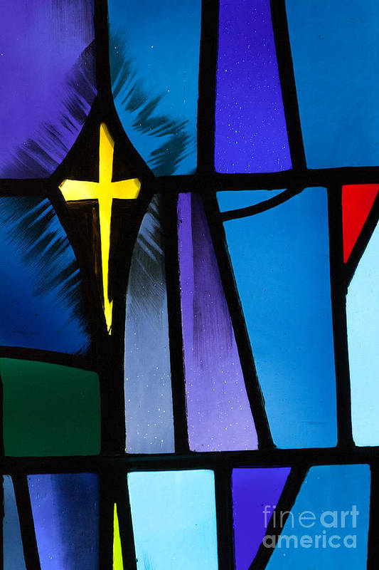 Christ Print featuring the photograph Stained Glass Cross by Karen Lee Ensley