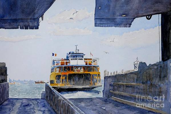 Boat Print featuring the painting Staten Island Ferry Docking by Anthony Butera