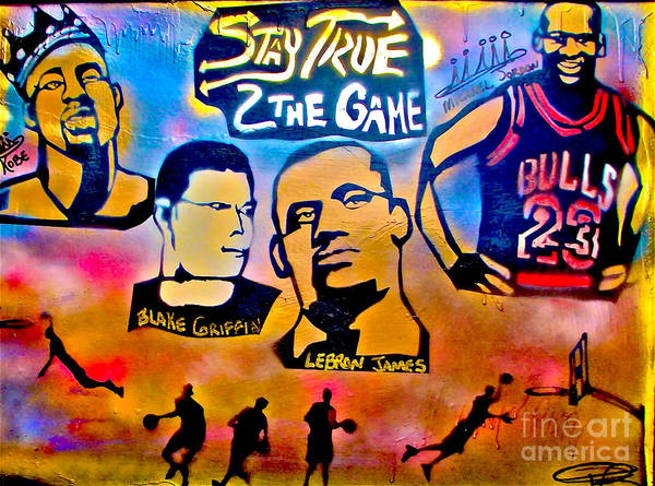 Kobe Bryant Print featuring the painting Stay True 2 The Game No 1 by Tony B Conscious