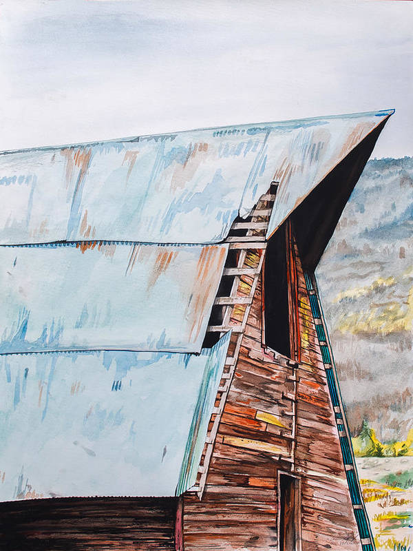 Barn Print featuring the painting Steamboat Barn by Aaron Spong