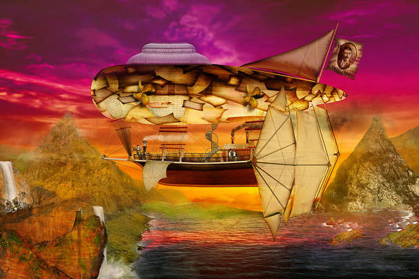 Self Print featuring the digital art Steampunk - Blimp - Everlasting Wonder by Mike Savad