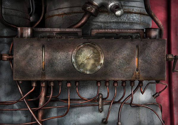 Hdr Print featuring the photograph Steampunk - Connections  by Mike Savad