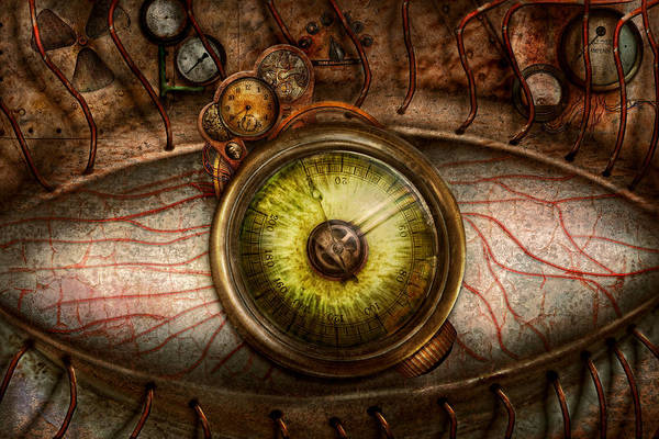 Self Print featuring the photograph Steampunk - Creepy - Eye On Technology by Mike Savad