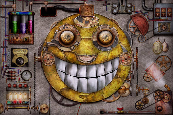 Steampunk Print featuring the digital art Steampunk - The Joy Of Technology by Mike Savad