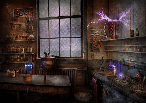 Hdr Print featuring the photograph Steampunk - The Mad Scientist by Mike Savad