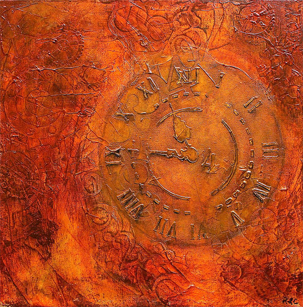 Steampunk Time Print featuring the mixed media Steampunk Time by Bellesouth Studio