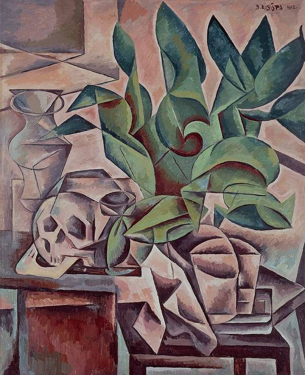 Art Print featuring the painting Still Life Showing Skull by Kubista Bohumil