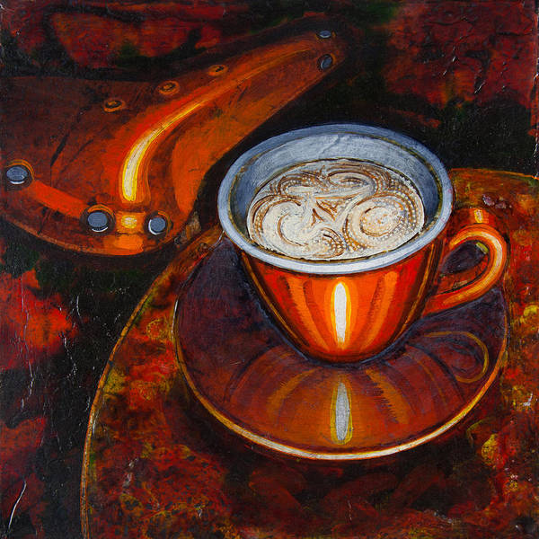 Coffee Print featuring the painting Still Life With Bicycle Saddle by Mark Howard Jones