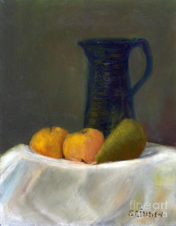 Still Life With Pitcher And Fruit Print featuring the painting Still Life With Pitcher And Fruit by Sandy Linden