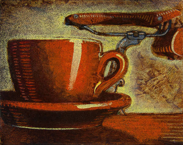 Coffee Print featuring the painting Still Life With Racing Bike by Mark Howard Jones