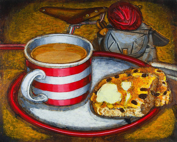 Tea Print featuring the painting Still Life With Red Touring Bike by Mark Howard Jones