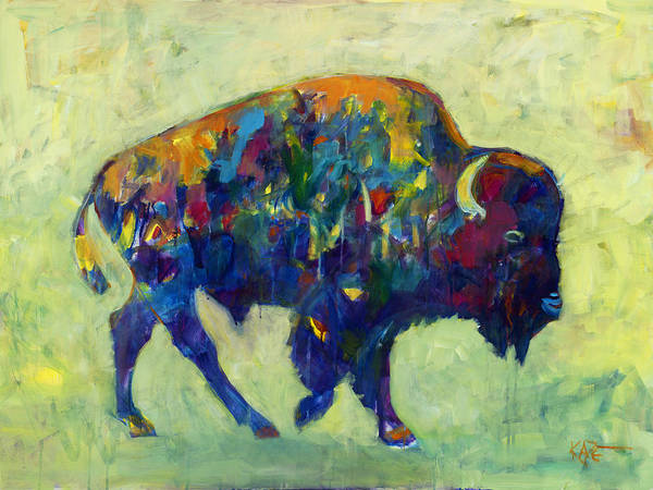Bison Print featuring the painting Still Wild by Kate Dardine