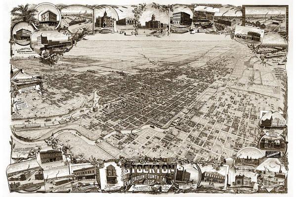 Stockton Print featuring the photograph Stockton San Joaquin County California 1895 by California Views Mr Pat Hathaway Archives
