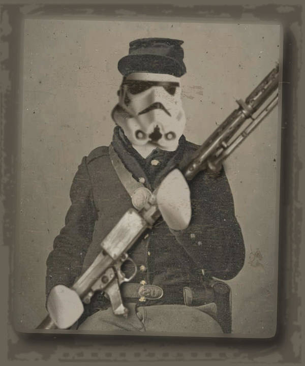 Storm Trooper Print featuring the painting Storm Trooper Star Wars Antique Photo by Tony Rubino