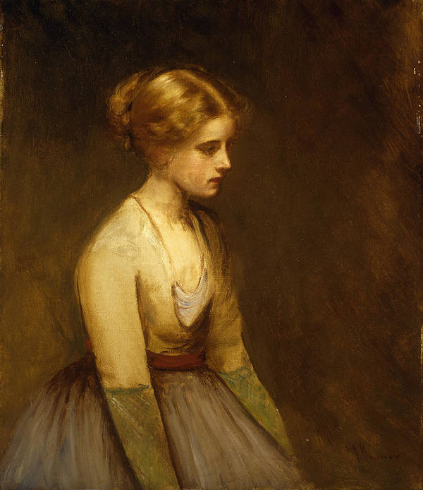 Study; Fair-haired; Beauty; Female; Woman; Girl; Young; Youth; Three-quarter Length; Demure; Modest; Beautiful; Thoughtful; Pensive; Full; Skirt; Brown; Background; Golden; Earthy; Tone; Tones; Shy; Blonde Print featuring the painting Study Of A Fair Haired Beauty by Jean Jacques Henner