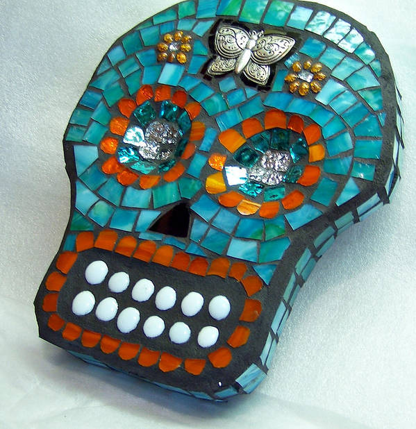 Dotd Print featuring the glass art Sugar Skull by Jenny Bowman