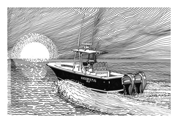 Ink Drawings By Jack Pumphrey Of Yacht Print featuring the drawing Sunrise Fishing by Jack Pumphrey