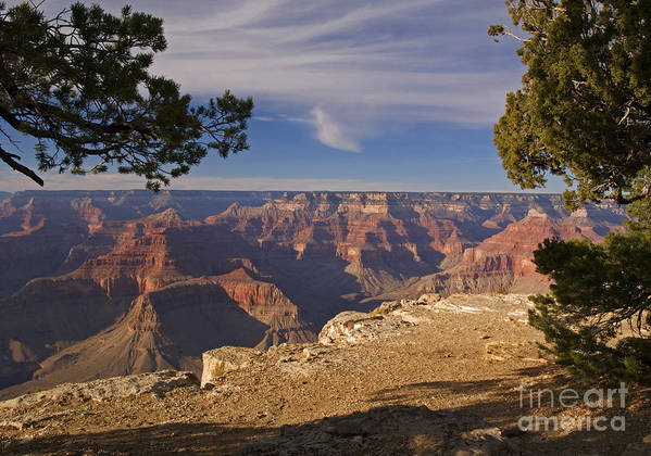 Landscape Print featuring the photograph Sunset At The Grand Canyon's Hopi Point by Alex Cassels