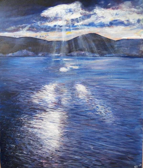 Landscape Print featuring the painting Sunset Near Myrtos Beach Kefalonia by Robina Osbourne