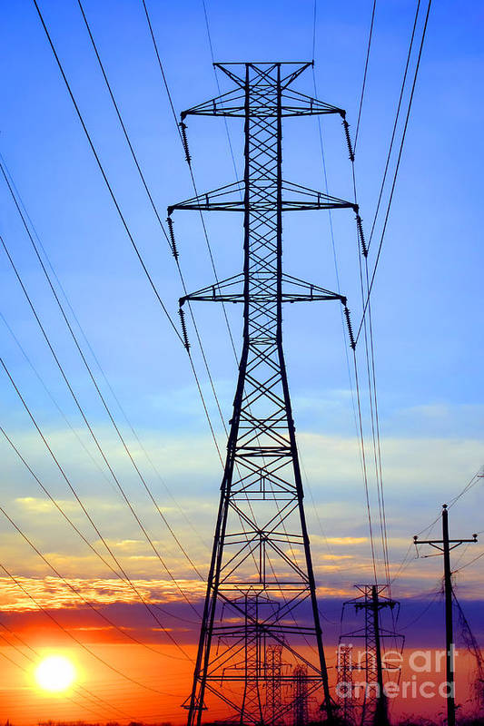 Electric Print featuring the photograph Sunset Power Lines by Olivier Le Queinec