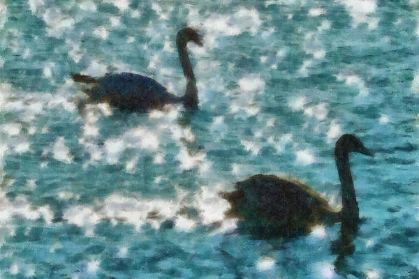 Swan Print featuring the painting Swan Lake by Ayse Deniz