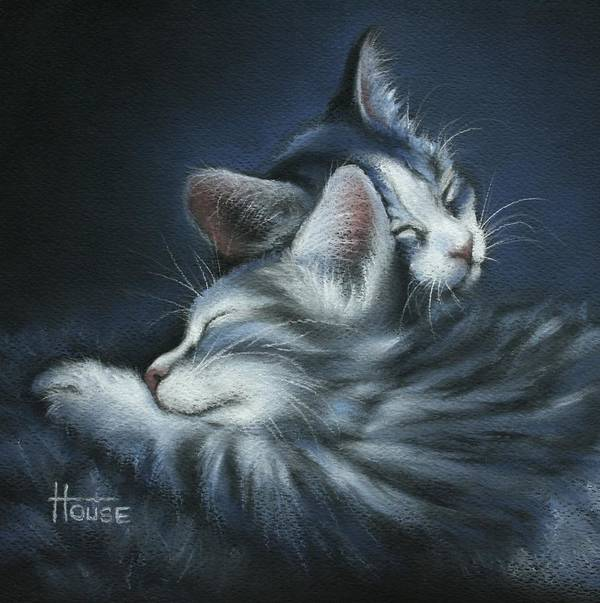 Kittens Print featuring the drawing Sweet Dreams by Cynthia House