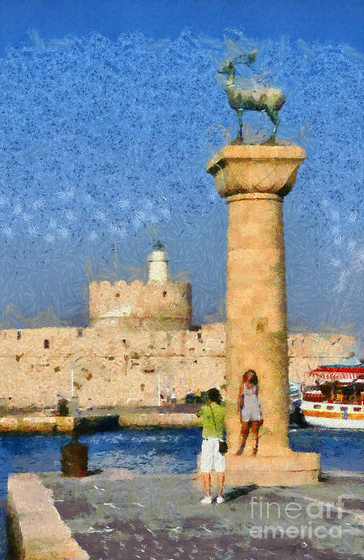 Rhodes Print featuring the painting Taking Pictures At The Entrance Of Mandraki Port by George Atsametakis