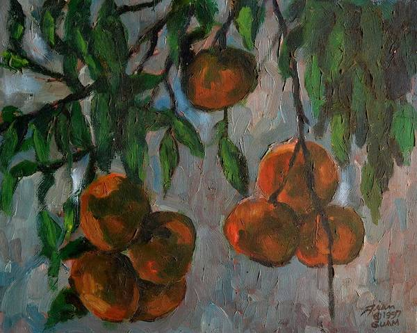 Tangerines Print featuring the painting Tangerines At Dawn by Peter Paul Christian Mahilum